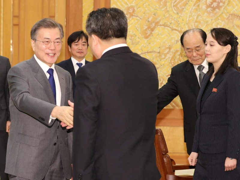 South Korean President Moon Jae-in shakes hands with president of the Presidium of the Supreme People's Assembly of North Korea Kim Young-nam. Photo: Yonhap via Reuters