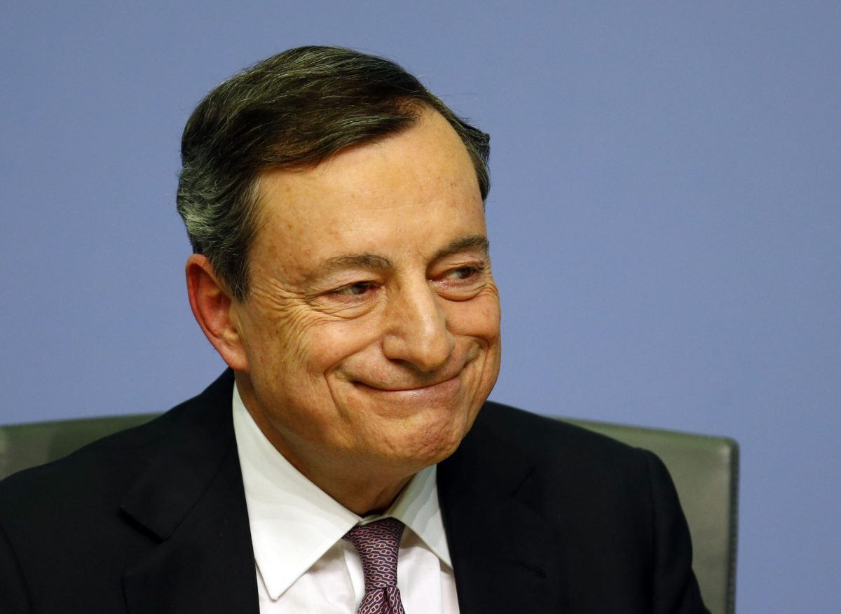 ECB President Mario Draghi holds a news conference at the ECB headquarters in Frankfurt. Photo: Reuters/Ralph Orlowski