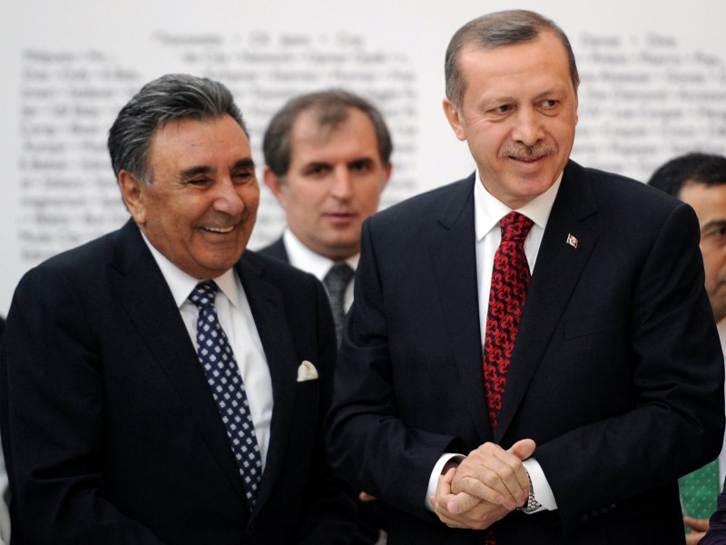 Turkish President Recep Tayyip Erdogan is seen with businessman Aydin Dogan. Photo: Depo Photos via Reuters