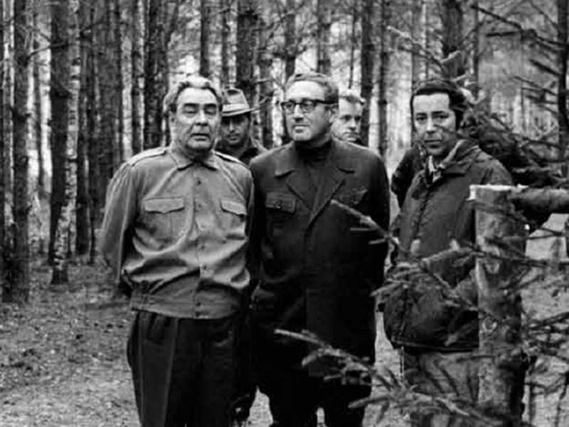 Henry Kissinger, Leonid Brezhnev and Viktor Sukhodrev visit a hunting farm at Zavidovo, Russia, May 1973. Photo via Flickr