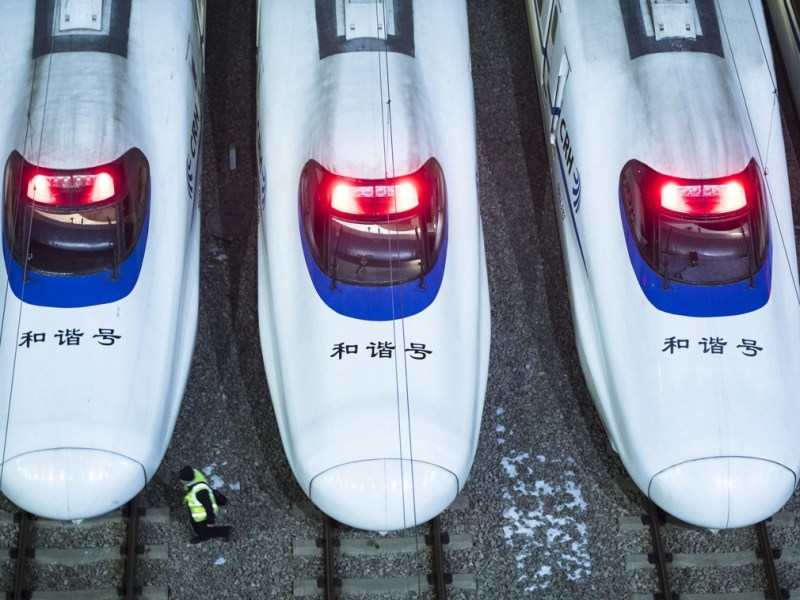 An up-close photo of the driving cabs of three Chinese high-speed trains parked at a station in Beijing. Photo: Xinhua