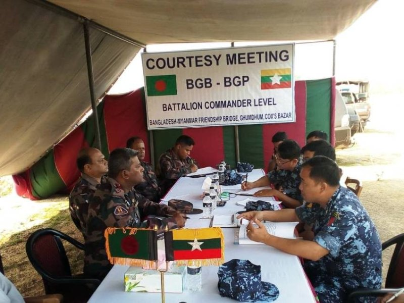Bangladeshi and Myanmar officials held a meeting after a sudden military buildup on the border that started on March 1, 2018. Photo: Courtesy Faisal Mahmud