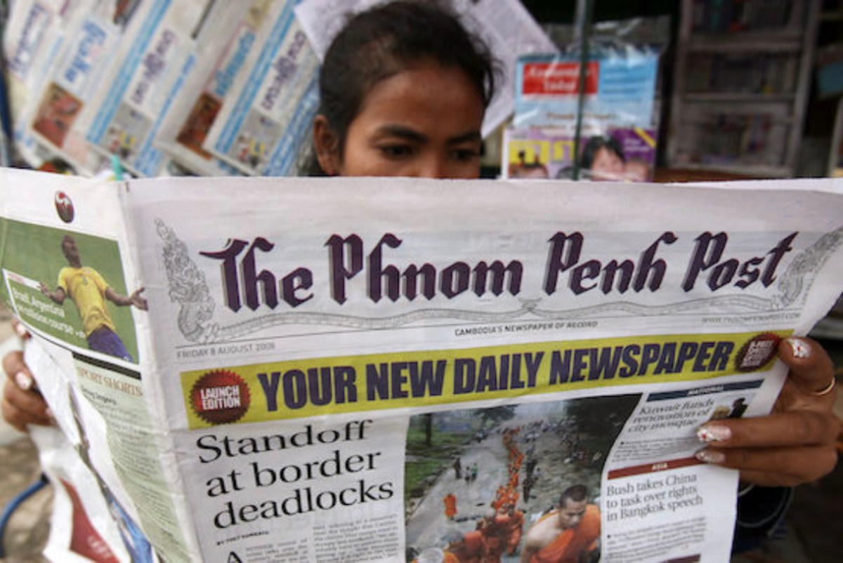 The Phnom Penh Post newspaper as a newly launched daily edition in a 2008 file photo. AFP/Tang Chhin Sothy