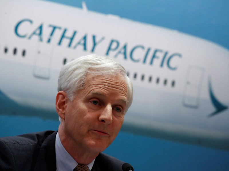 Cathay Pacific Group Chairman John Slosar attends a news conference on the carrier's annual results. Photo: Reuters /Bobby Yip