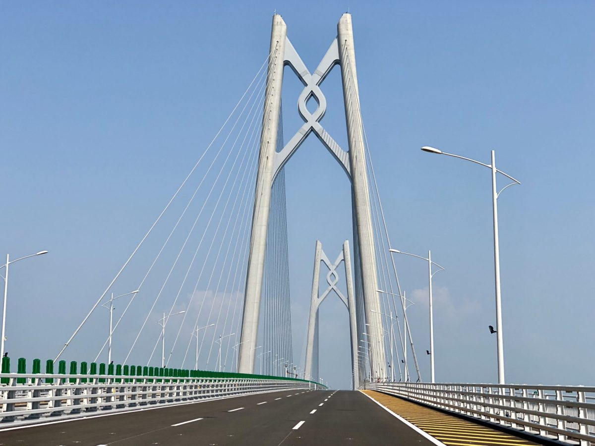 The two 163-meter pylons erected in the middle of the Pearl River estuary are the most prominent landmarks of the Hong Kong-Zhuhai-Macau  Bridge. Photo:  Frank Chen/Asia Times