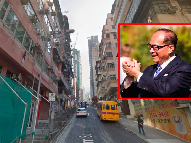 Western District on Hong Kong Island with Li Ka-shing (inset). Photo: Google Maps, Wikimedia Common