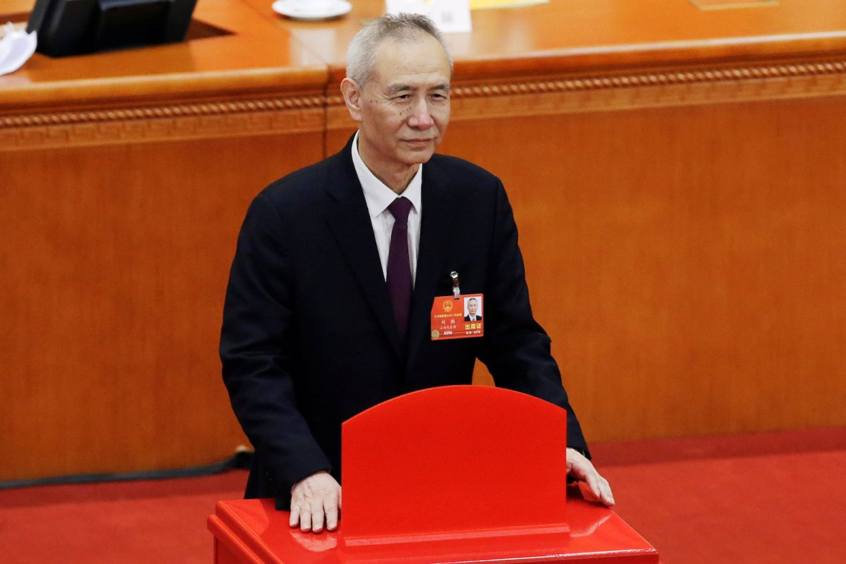 Liu He at the National People's Congress in the Great Hall of the People in Beijing. Photo: Reuters / Jason Lee