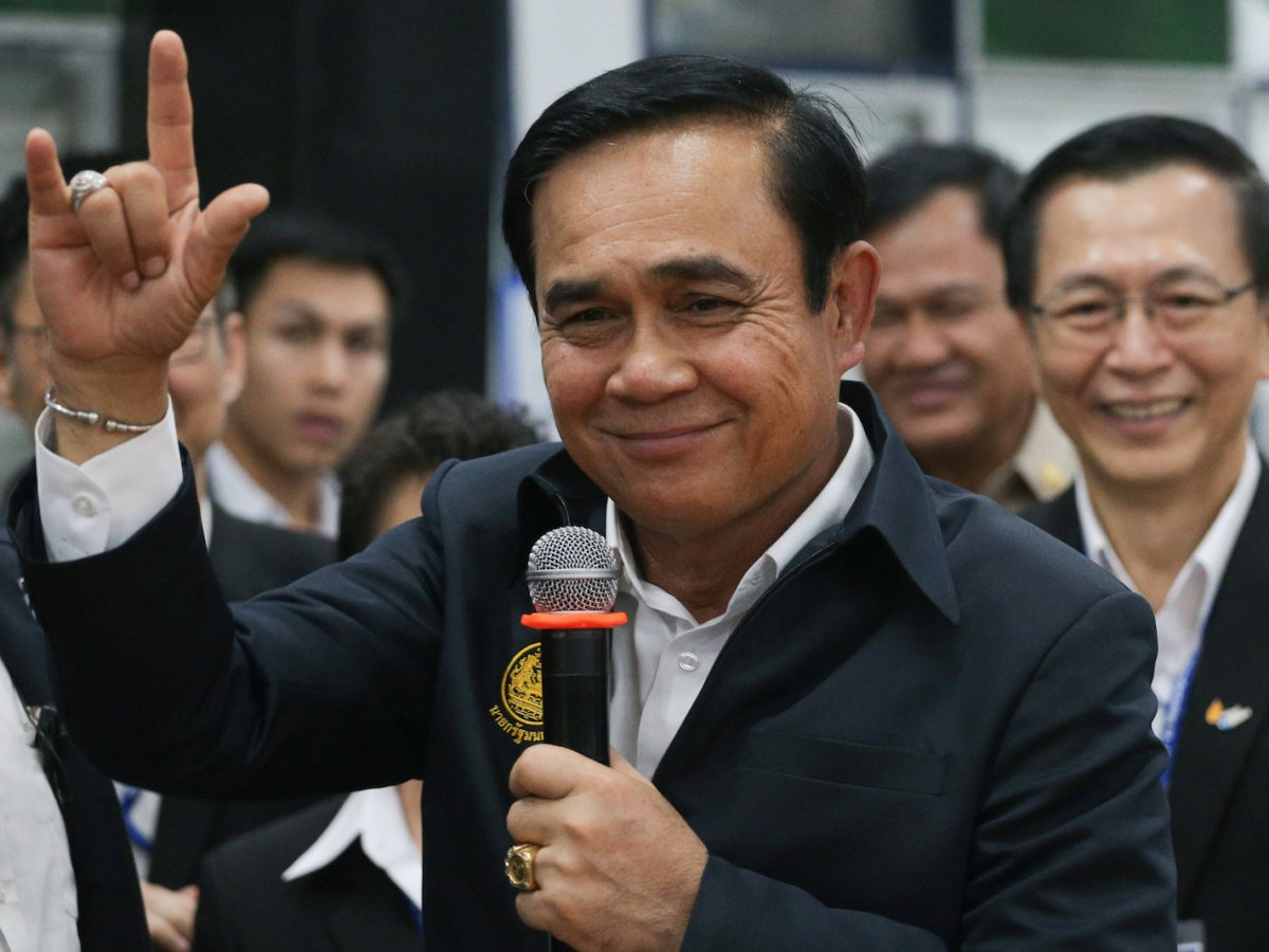 Thailand's Prime Minister Prayuth Chan-ocha gestures during a visit to Thai Union company in Samut Sakhon, Thailand, March 5, 2018. Photo: Reuters/Athit Perawongmetha