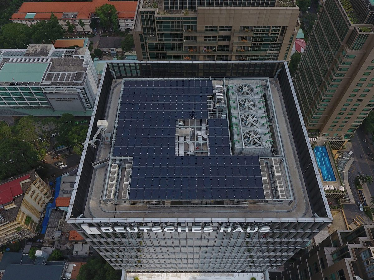 Aerial view of Ho Chi Minh City's recently launched Deutsches Haus office building. Photo: Courtesy of Deutsches Haus