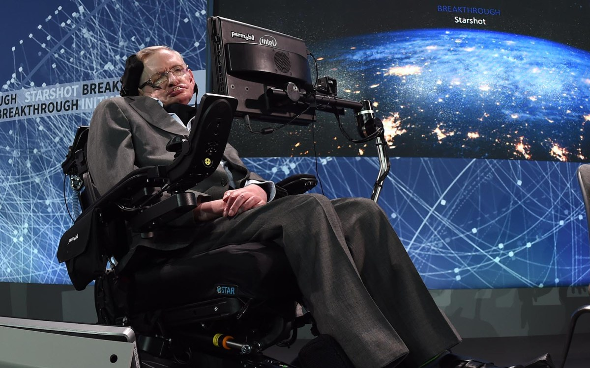 Renowned cosmologist Professor Stephen Hawking at a press conference in 2016 in New York to announce a new initiative focusing on space exploration and the search for life in the universe. Photo: AFP/Timothy A. Clark