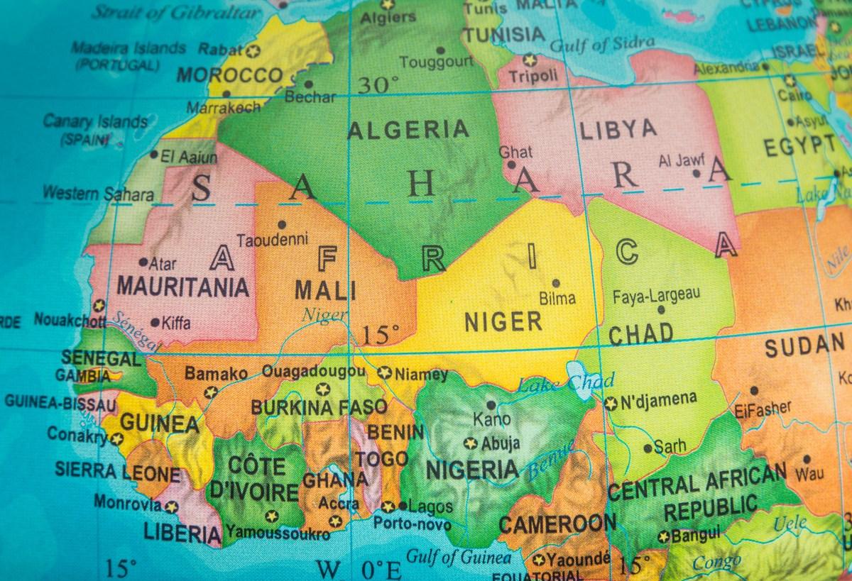 Saharian and sub-Saharian Nations close up  in an small world globe. Photo: iStock
