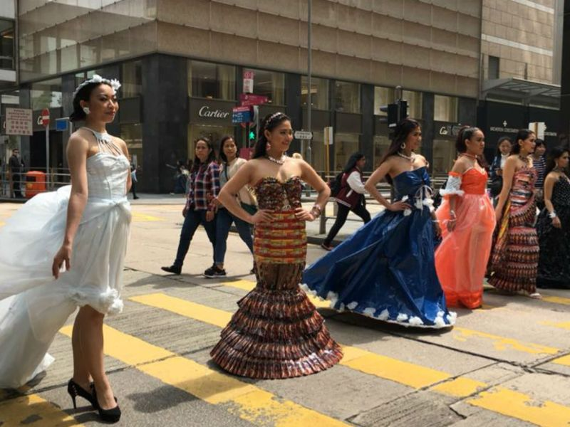 Elpidia Malicsi's creations were show to the public through mobile catwalks on streets in Hong Kong. Photo: Facebook, Ju-chen Chen, Sustainable Sunday Couture: Domestic Workers Upcycling Fashion