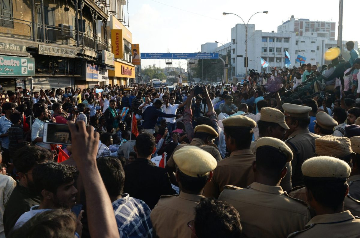 Tamils gather in a big rally over water rights in Chennai on April 10. They called for IPL games in the city be cancelled. The state of Tamil Nadu has seen mounting protests over a disputed accord with neighbouring Karnataka state on how to share water from the Cauvery river. Photo: AFP/ Arun Sankar