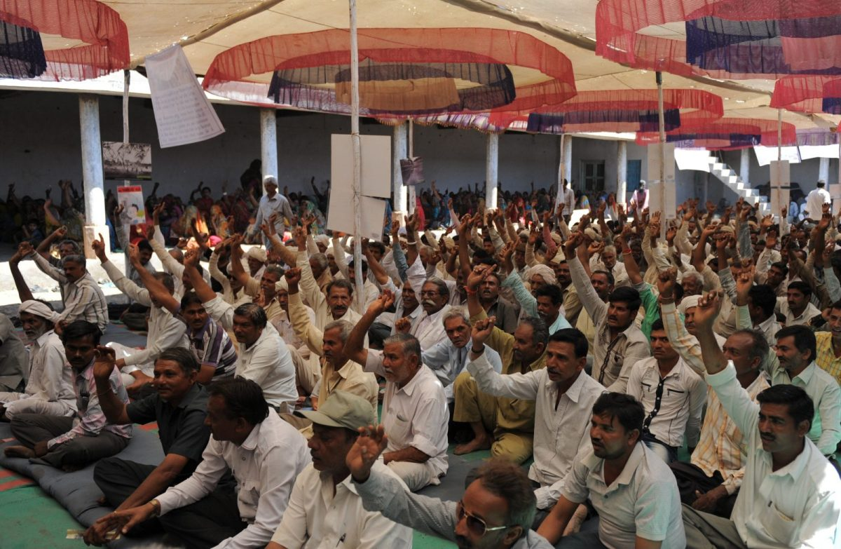 Indian farmers and activists take part in an anti-nuclear protest at Jaspara-Mithi Virdi village in Bhavnagar, 260km from Ahmedabad, in March 2013. The protest was held to oppose a 6,000 MW nuclear plant proposed at the coastal site. The current protest is against a lignite power plant planned on the same land. Photo: AFP/ Sam Panthaky
