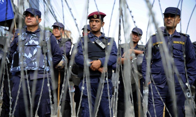 Nepalese police stand guard in Kathmandu. Photo: AFP
