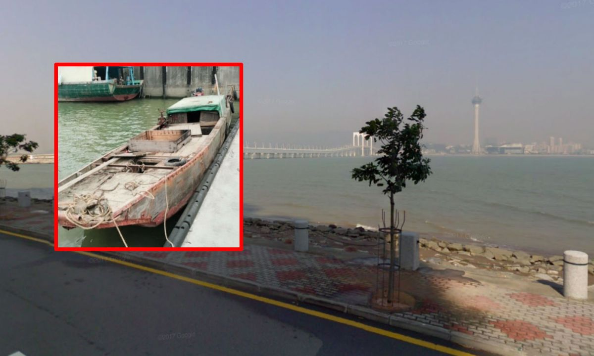 Customs officers say they caught illegal immigrants on a boat, inset, in Taipa, Macau. Photos: Google Maps, Macau Government