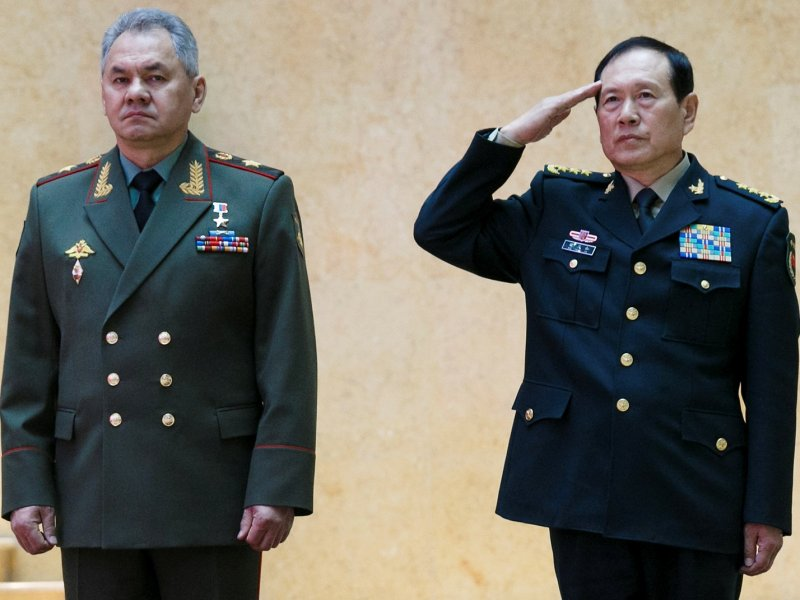 Russian Defense Minister Sergey Shoigu and Chinese Defense Minister Wei Fenghe in Moscow.  Photo: Russian Defense Ministry via Reuters
