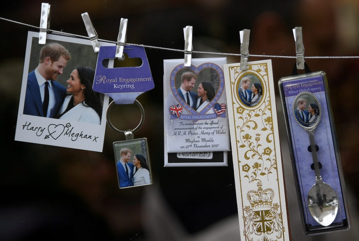 Commemorative gifts celebrating the upcoming wedding of Britain's Prince Harry and his fiancee Meghan Markle in Windsor, Britain. Photo: Reuters / Toby Melville