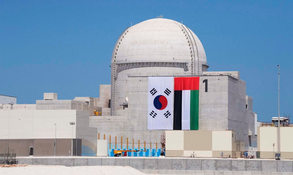The first unit of the Barakah Nuclear Energy Plant in Al-Dafrah, UAE. The nuclear plant will eventually be a giant, four-reactor complex. It is being built by a consortium led by the Korea Electric Power Corp. Photo: AFP/WAM/Abdullah Al-Junaibi