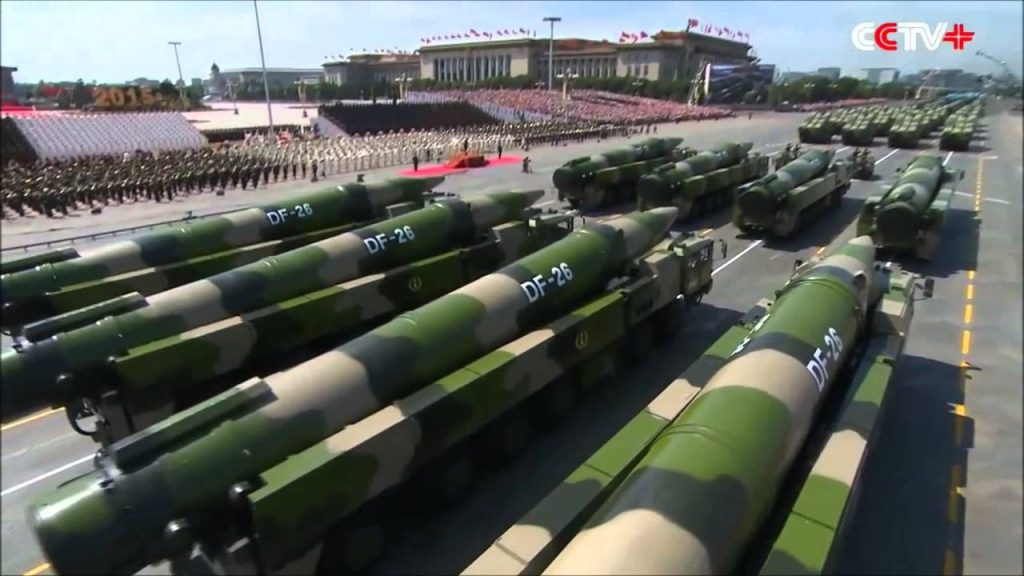 DF-26 missiles at a 2015 WWII victory parade in Beijing. PHOTO: China Central TV screen grab