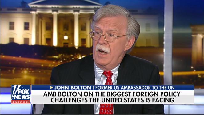 Now-White House national security advisor John Bolton, speaking on Fox News. Source: Fox News screen grab