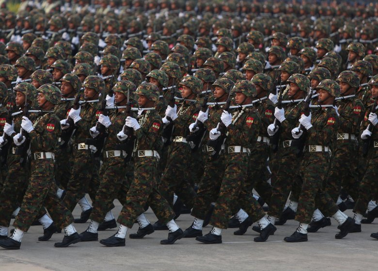 Members of Myanmar's military take part in a parade to mark the 73rd Armed Forces Day in the capital Naypyitaw, Myanmar March 27, 2018. REUTERS/Stringer NO RESALES. NO ARCHIVES.