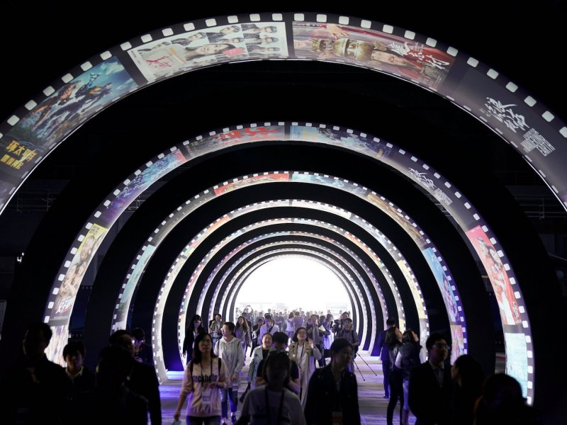 People visit the opening event of Movie Metropolis in Qingdao, Shandong province. Photo: Reuters / Aly Song