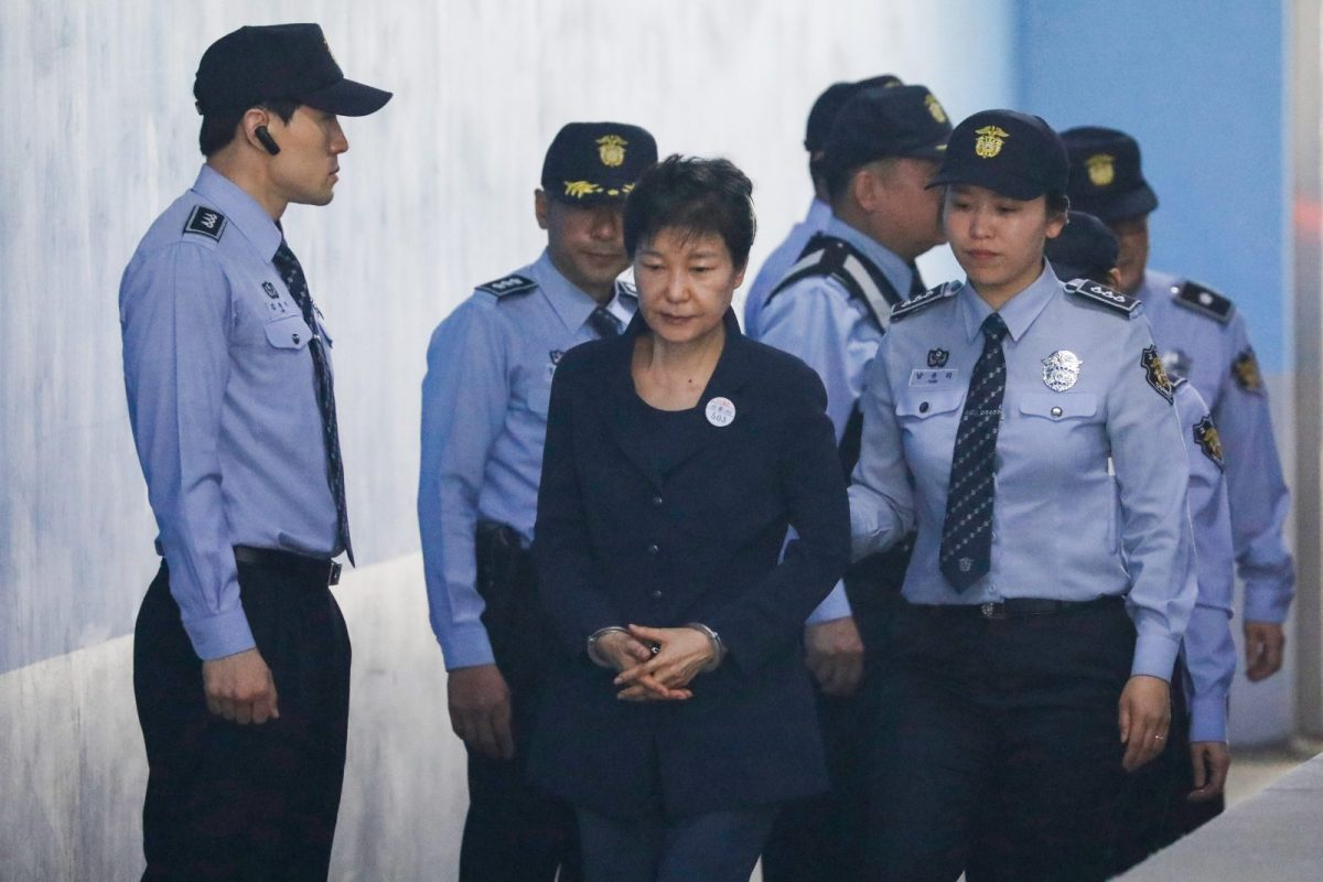 Ousted South Korean leader Park Geun-hye arrives at a court hearing in Seoul in April. Photo: AFP