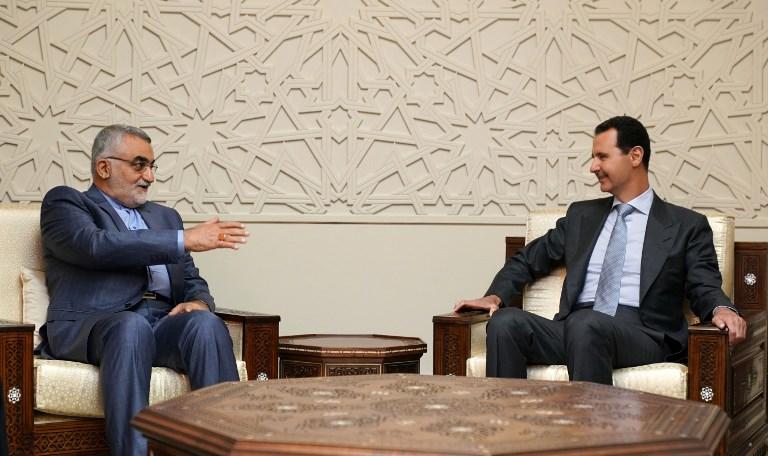 Senior member of Iran's parliament Alaeddin Boroujerdi met with Syrian President Bashar al-Assad on Monday before vowing to retaliate against an Israeli air strike. Photo: AFP