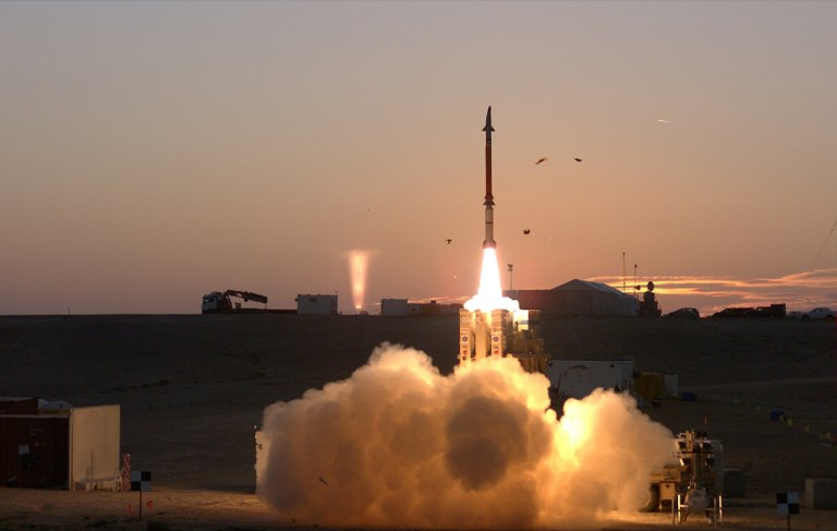 A test of Israel's David Sling's missile defence system, a medium-range interceptor, developed with United States backing. Photo: Israel Defense Ministry via AFP