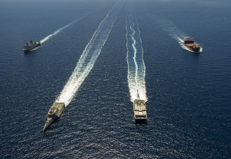US Navy ships taking part in the 2014 RIMPAC exercise.  Photo: US Navy via AFP