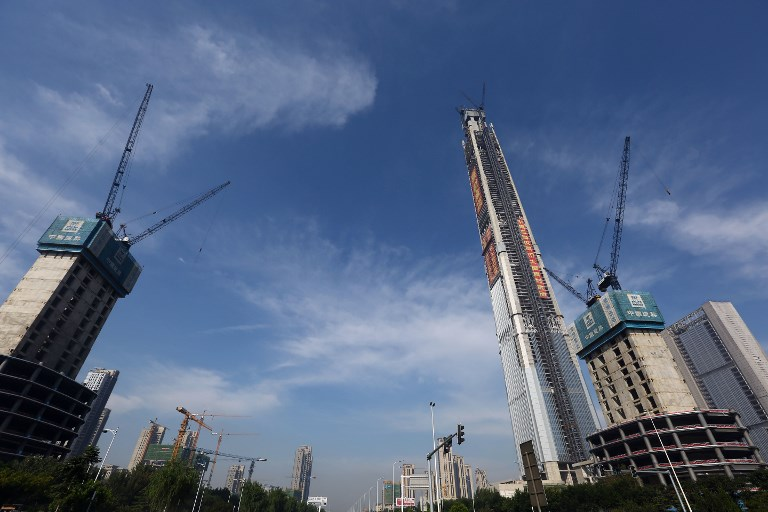 Buildings under construction in Tianjin, China. Photo: AFP