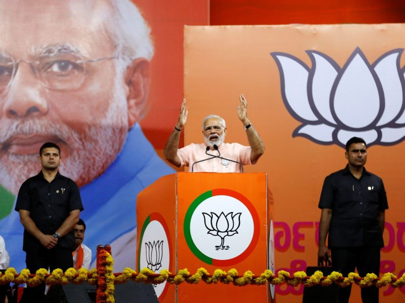 Indian Prime Minister Narendra Modi addresses an election rally in Bangalore on May 8 ahead of the Karnataka state election. Photo: Reuters/Abhishek N Chinnappa