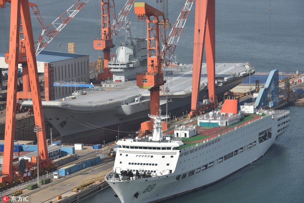 A recent photo shows the new Chinese carrier has entered a dry dock for further maintenance at the Dalian Shipyard. Photo: Weibo via DFIC