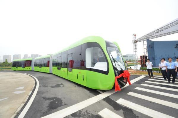 The light-rail train that doesn't need tracks. Photo: CRRC