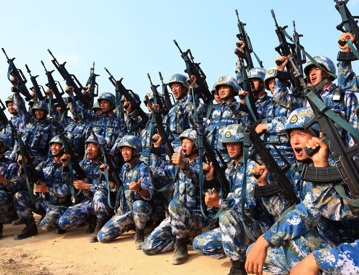 """Chinese marines take part in a joint naval drill in Zhanjiang, south China's Guangdong Province, Sept. 14, 2016. China and Russia started """"Joint Sea 2016"""" drill off Guangdong Province in the South China Sea on Tuesday. The drill will run until Sept. 19, featuring navy surface ships, submarines, fixed-wing aircraft, helicopters, marines and amphibious armored equipment."""
