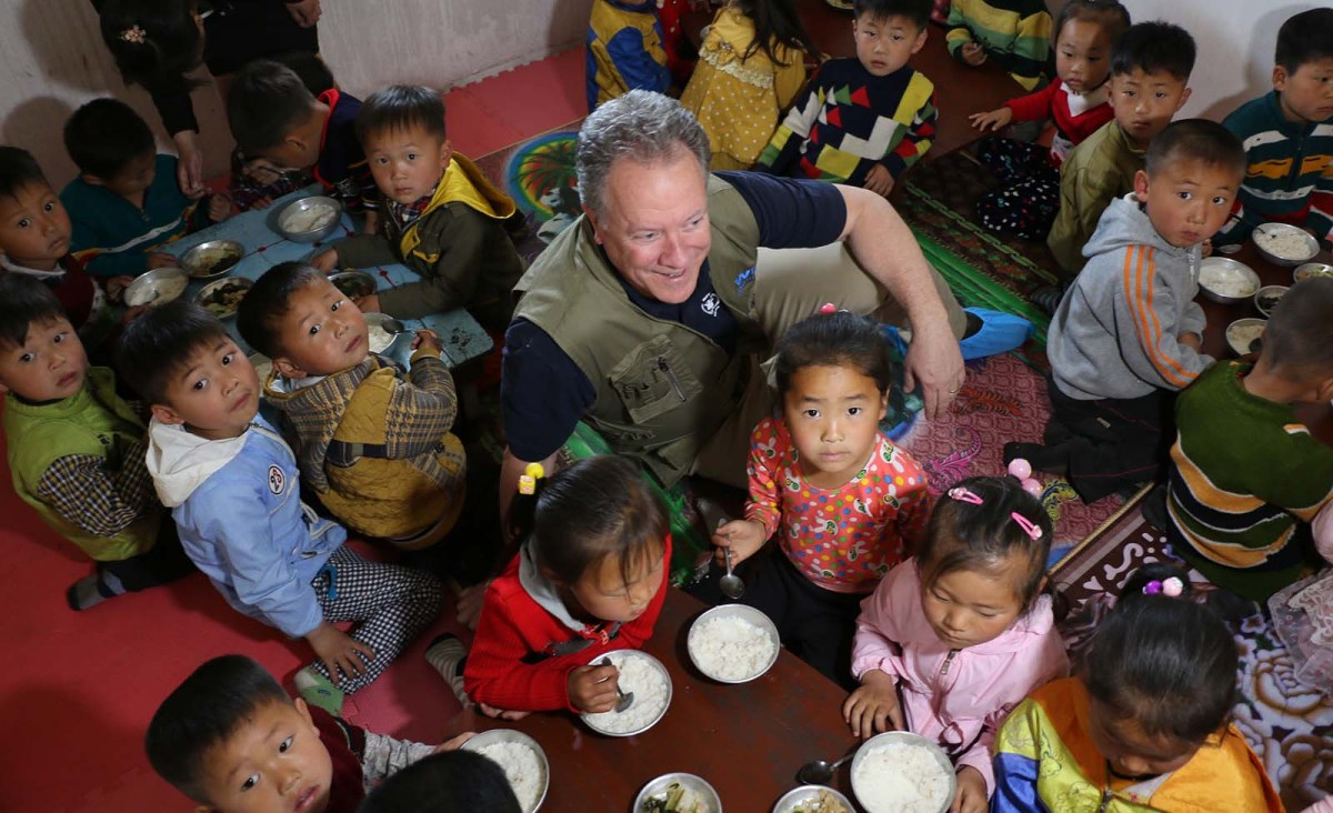 David Beasley, head of the World Food Programme  visits a WFP-supported children's nursery in Komchon Ri village in North Korea on May 9, 2018. Photo: WFP/Silke Buhr