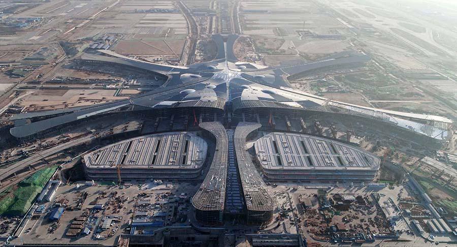 A bird's eye view of the terminal of the Beijing Daxing Airport. Photo: Xinhua