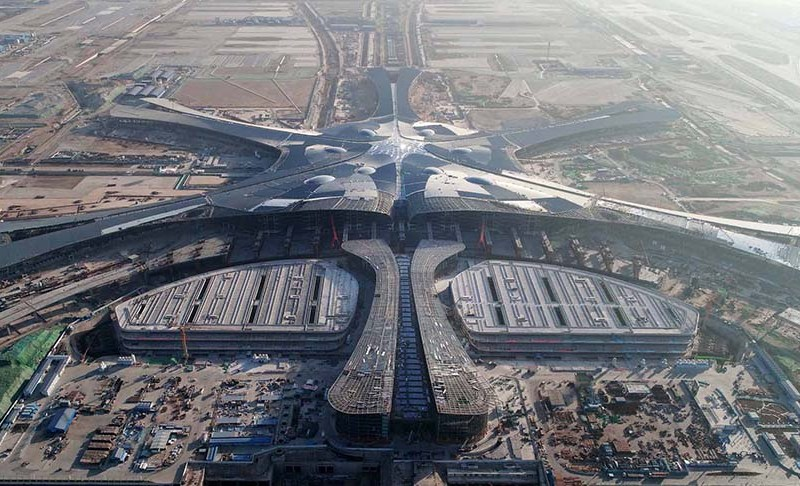 A bird's eye view of the terminal of the Beijing Daxing Airport. Photo: Xinhua