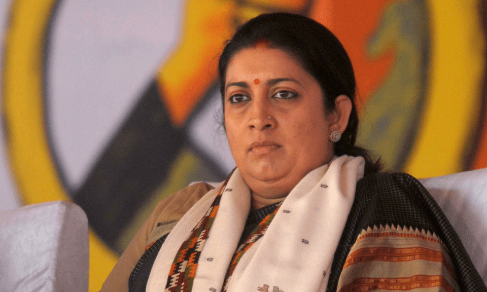 Information & Broadcasting Minister Smritri Irani has been dumped in the latest Cabinet reshuffle. Photo:  AFP