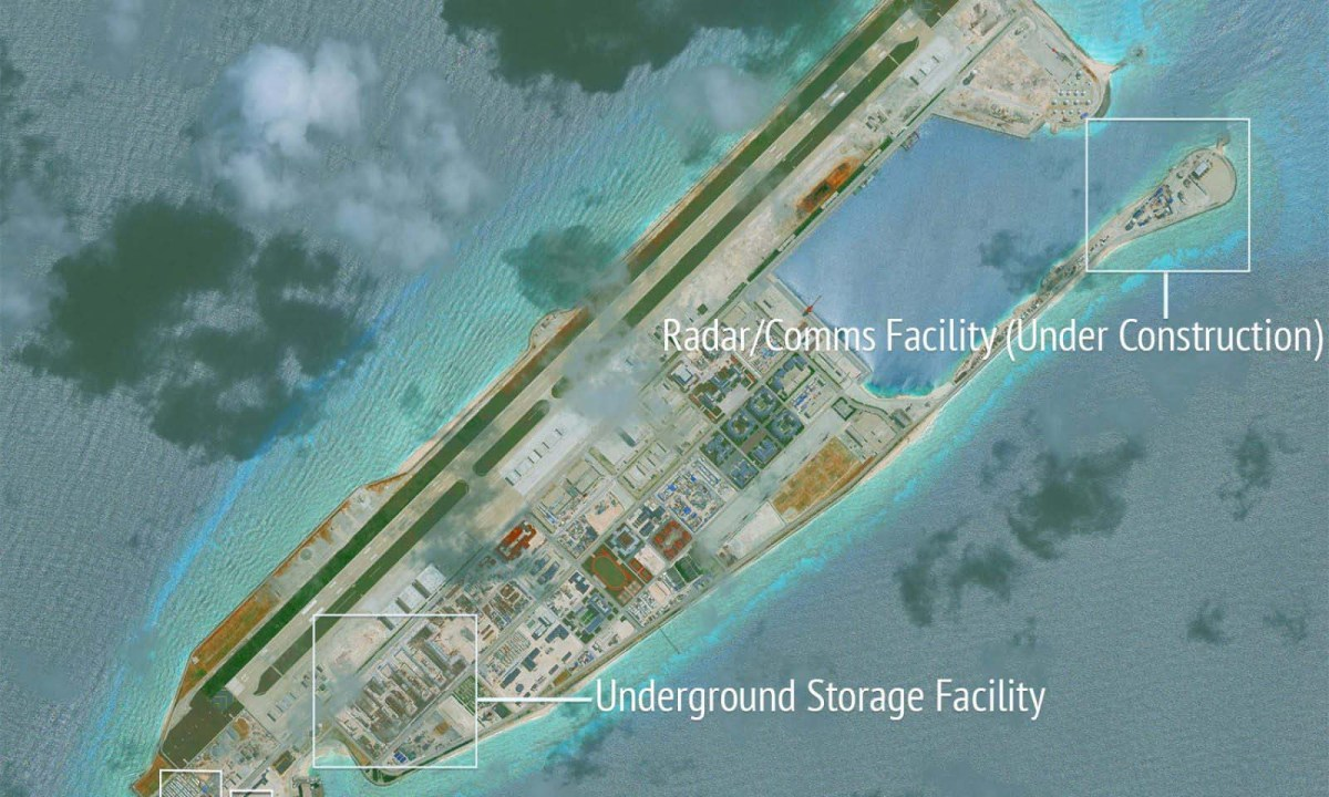 Construction is shown on Fiery Cross Reef, in the Spratly Islands, the disputed South China Sea in this June 16 satellite image by CSIS Asia Maritime Transparency Initiative at the Center for Strategic & International Studies. Photo: CSIS/AMTI DigitalGlobe/ via Reuters