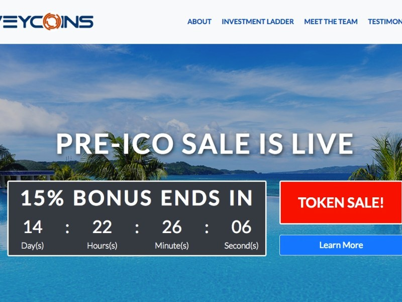Main page on the bogus ICO site. Photo: The United States Securities and Exchange Commission
