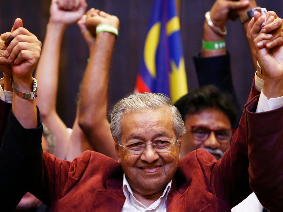 Mahathir Mohamad, former Malaysian prime minister and opposition candidate for Pakatan Harapan (Alliance of Hope) reacts during a news conference after general election, in Petaling Jaya, Malaysia, May 9, 2018. Photo: Reuters/Lai Seng Sin