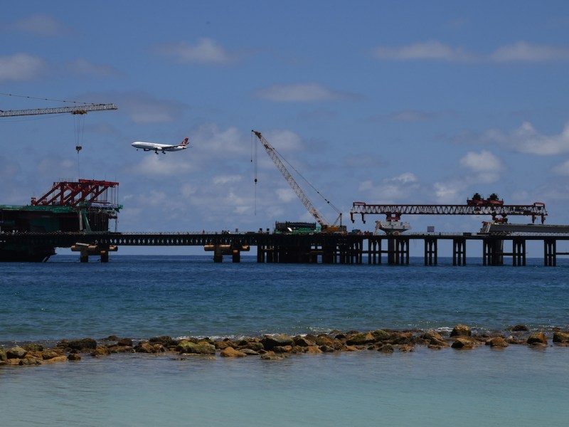 The China Maldives Friendship Bridge, which is being built near the city of Male. This shot was taken on February 8. Photo: AFP