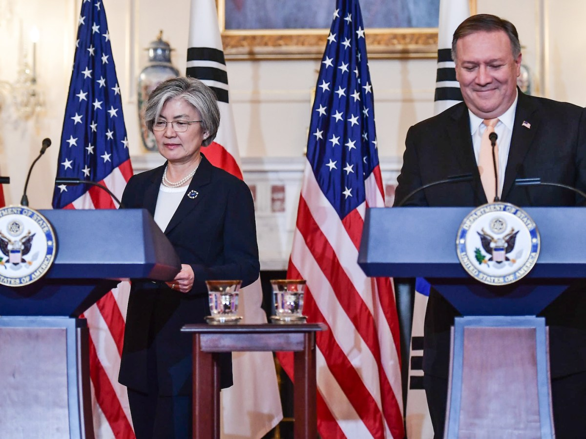 US Secretary of State Mike Pompeo and South Korea's Foreign Minister Kang Kyung-wha at a joint Press conference in Washington. Photo: AFP / Mandel Ngan