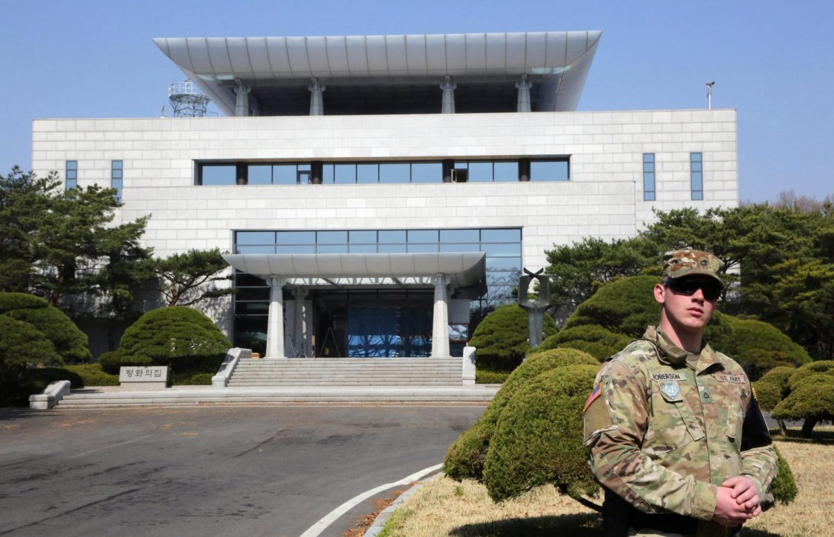 "South Korean side facility ""Peace House in Paju City, Panmunjom, on April 18, 2018. Photo: AFP/The Yomiuri Shimbun"