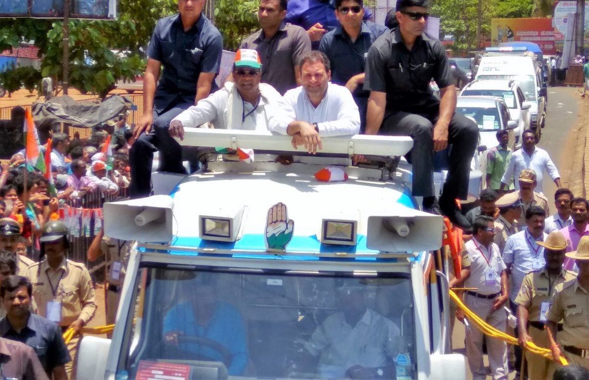 Karnataka Chief Minister Siddaramaiah and Congress President Rahul Gandhi on a roadshow in Ankola, Uttar Kannada district. Photo: Deepak Kumar Shenvi