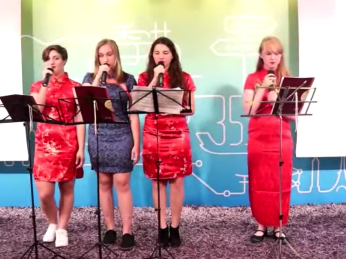 The four girls wowed the audience with perfect Cantonese. Photo: Youtube/ Cantonese Museum