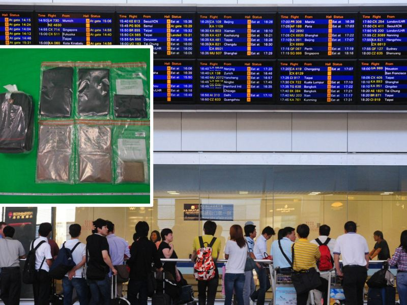 Hong Kong International Airport and (inset) the cannabis seized. Photo: HK government