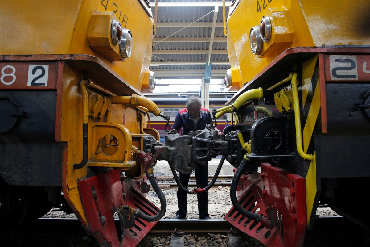Train cars at Bangkok's Hua Lamphong railway station. Photo: AFP